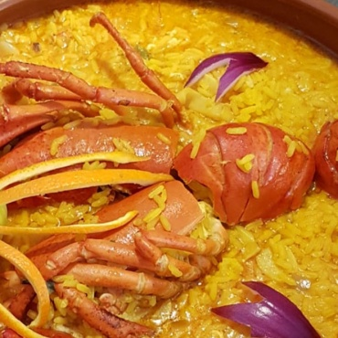 Creamy rice with lobster